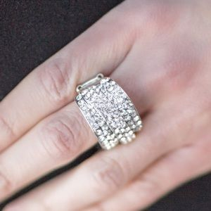Rhinestone &silver-tone statement ring